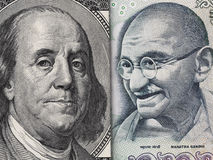 US dollar bill and India rupee banknote macro, Indian and USA ec Royalty Free Stock Photo