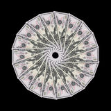 US Dollar bills. (new colored Fifties) arranged neatly in a circle. Very high detail Stock Images