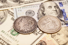 US dollar bills and coins Royalty Free Stock Images