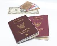 Us dollar bills and credit card with passport Stock Photos