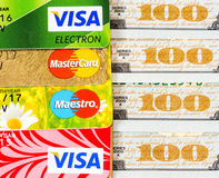 US dollar bills with credit cards Visa and MasterCard Stock Photo
