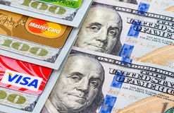 US dollar bills with credit cards Visa and MasterCard Stock Photos