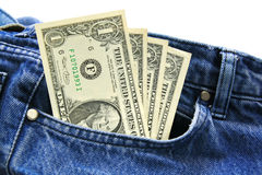 US dollar bills in employee's blue jeans pocket. Royalty Free Stock Photos