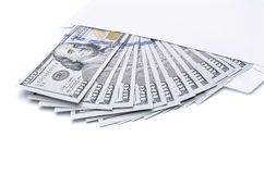 US dollar bills in an envelope stock photo