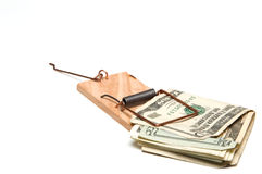 US Dollar Bills in Mousetrap Stock Photo