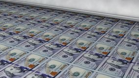 US 100 dollar bills printingbeing printed. US 100 dollar bills printing. 3d rendered looped animation stock video footage