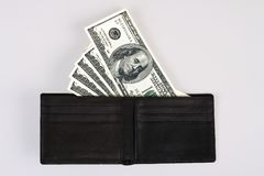 US Dollar Bills in a Wallet Stock Images