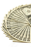 Us dollar bills on white background. Stock Photo