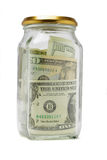 US dollar bils in glass container Stock Images