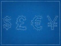 US-Dollar, britisches Pfund, Japanesse-Yen, Eurosymbol-Plan Lizenzfreies Stockbild