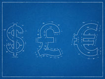 Us Dollar, British Pound, Euro Symbols Blueprint Royalty Free Stock Photography