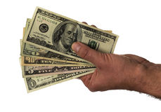 US Dollar. cash no background. Money Banknotes Hand holding money Royalty Free Stock Images