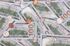 100 US dollar and cents abstract background. Royalty Free Stock Images