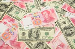 US dollar and China yuan background. Background of US one  hundred dollar bills and China one hundred yuan bills Royalty Free Stock Photography