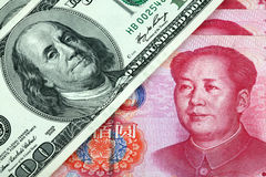 US dollar and Chinese yuan. On white background Stock Image