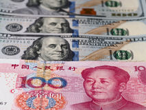 US dollar and chinese yuan background, economy finance trade con Stock Photo