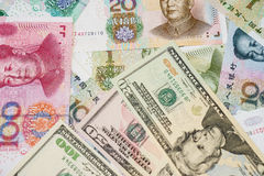 US dollar and Chinese yuan Royalty Free Stock Photo