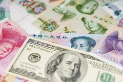 US dollar and Chinese yuan Stock Photos