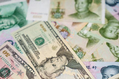 US dollar and Chinese yuan Royalty Free Stock Photo
