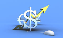 US Dollar climbing up. 3d image of golden dollar sign on blue background Stock Photo