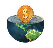 Us dollar coin on earth hemisphere Royalty Free Stock Image