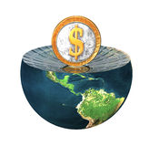 Us dollar coin on earth hemisphere Royalty Free Stock Images