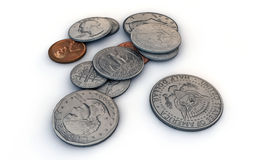 Us dollar coins. On white background Royalty Free Stock Photos