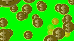 US dollar coins in gold flying on green screen, animated illustration. 4k video stock footage