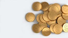 us dollar coins pile gold top view white background 3d render royalty free illustration