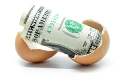 US dollar on cracked egg Royalty Free Stock Images