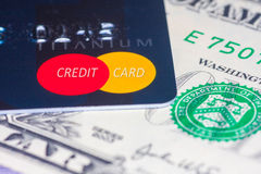 US Dollar with Credit card Royalty Free Stock Photography