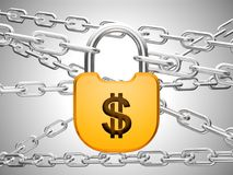 Dollar safety concept: padlock and chains. US Dollar currency safety concept: padlock and chains Royalty Free Stock Photos