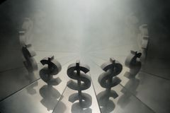 US Dollar Currency Symbol on Mirror and Covered in Smoke royalty free stock image