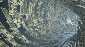 US Dollar currency tunnel fly through, bloom, Alpha, stock footage. Video stock footage