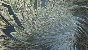 US Dollar currency tunnel fly through, light bloom, Alpha, stock footage. Video stock footage
