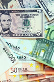 US Dollar and Euro Royalty Free Stock Photo