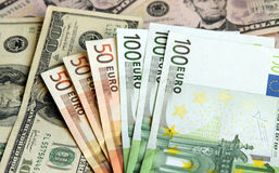 US Dollar and Euro. Two leading hard currencies - US Dollar and Euro Royalty Free Stock Image