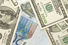 US dollar and Euro banknotes Stock Image