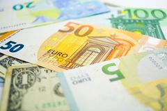 US dollar and Euro banknotes background : Banking Account, Investment Analytic. US dollar and Euro banknotes background : Banking Account, Investment Analytic stock images