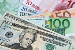 US Dollar and Euro Notes. Two leading hard currencies - US Dollar and Euro Stock Images