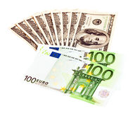 US Dollar and Euro Stock Photography