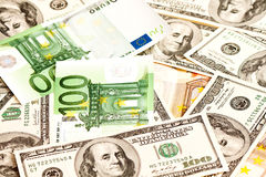 US Dollar and Euro Stock Images