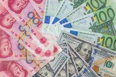 US dollar and Euro, yuan banknotes Stock Photo