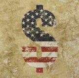 US dollar flag icon sign over grunge background. American dollar icon sign with US flag over distressed shabby grunge background stock images