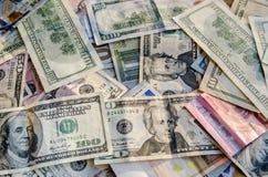 US-Dollar gegen Euro Stockbild