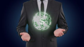 US dollar glowing energy in the hands businessman. concept Finance Currencies. US dollar in glowing energy ball in the hands of a businessman increases in volume stock footage