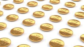 us dollar gold coins line up flying over white floor 3d render vector illustration