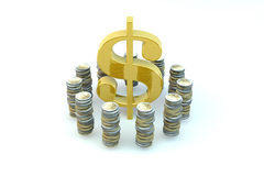 US Dollar gold sign in an environment of coins Stock Photo