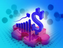 US Dollar graph with Puzzle Royalty Free Stock Photography