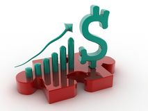 US Dollar graph with Puzzle Stock Images